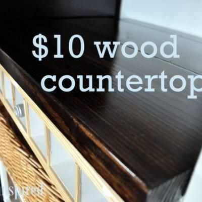 $10 Wood Countertop {tutorial}Solid wood countertops for $10 sounds too good to be true, but with this tutorial, you can see it's possible.  Dark wood stain makes these simple pine boards seem expensive.  Butcher block, move over, here's a better option!View This Tutorial