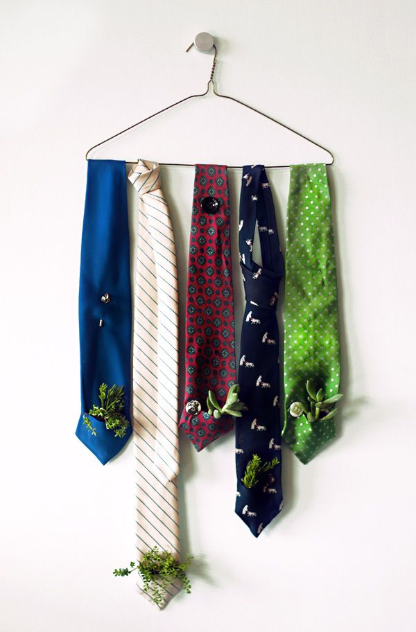 DIY idea: tiny potted plants inside of a tie. #DIY #gifts #ties #menswear #gardening #whimsical