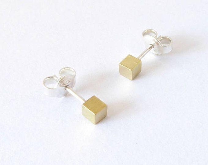 Dainty sterling silver and brass stud earring-Handmade tiny cube post earring. MINOatelier.etsy.com  (scheduled via http://www.tailwindapp.com?utm_source=pinterest&utm_medium=twpin)