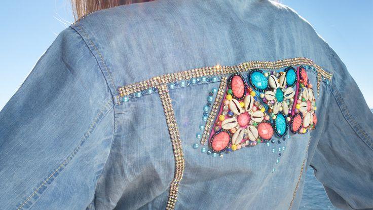 Denim jacket with pattern and swarovski elements www.maurizio.gr