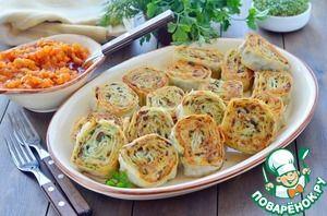 Картофельно-грибные рулетики из лаваша