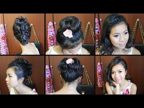 SHORT HAIR tutorials   Like and favorite this video in case you forget about it. ^_^  ♥ Learn more of my hair tutorials here:   http://www.youtube.com/playlist?list=PLD4D5DE6CCCF00AF4    In this video, I'll show you how to do these easy hairstyle:  Braid Bangs, Asymmetrical Bob, Faux Hawk,Top Knot Bun Updo    Hey everyone, I finally compiled a few of my favorite trendy hair...