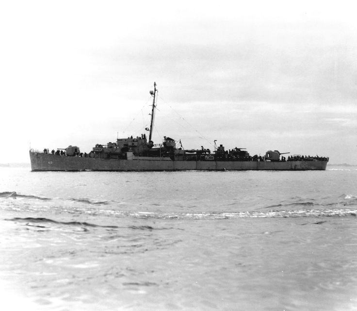 The first USS Samuel B. Roberts (DE-413) is underway in this undated file photo. The ship sank during the Battle off Samar on Oct. 25, 1944. Lt. Cmdr. R. W. Copeland, USNR, was in command and was awarded the Navy Cross for heroism for his actions during the battle. (U.S. Navy photo courtesy of the Naval History and Heritage Command/Released)