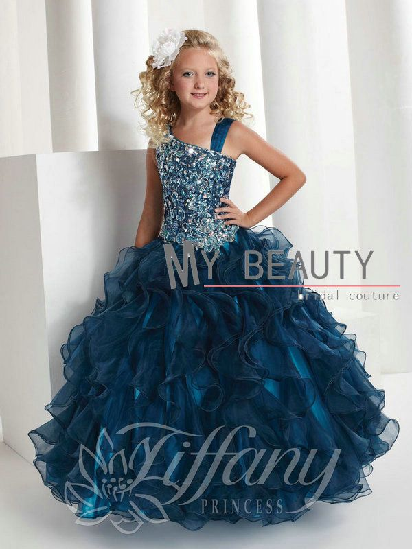 Best Selling Fashion Teal Beaded Flower Girl Dresses 2013 For Weddings Party Ruffles Organza Pageant Dresses TF13332 $119.90