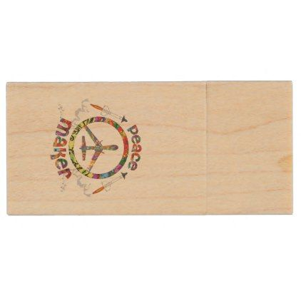 Peace Maker hippie military drone funny Wood Flash Drive  diy cyo personalize