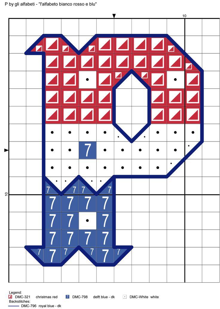 alfabeto bianco rosso e blu P
