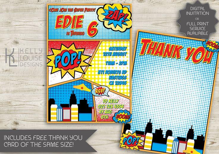 Comic Strip Birthday Invitation | Superhero Comic Strip Invitation | Wonder Women Invitation | Superhero Party | Printable Invitation (196) by kellylouisedesigns on Etsy