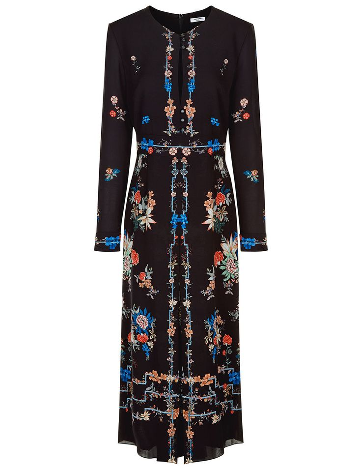 Black Floral Border Jerry Dress | Vilshenko | Avenue32