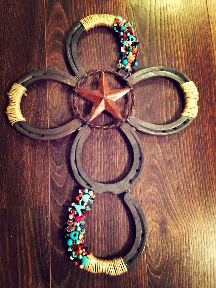 Beaded horse shoe cross