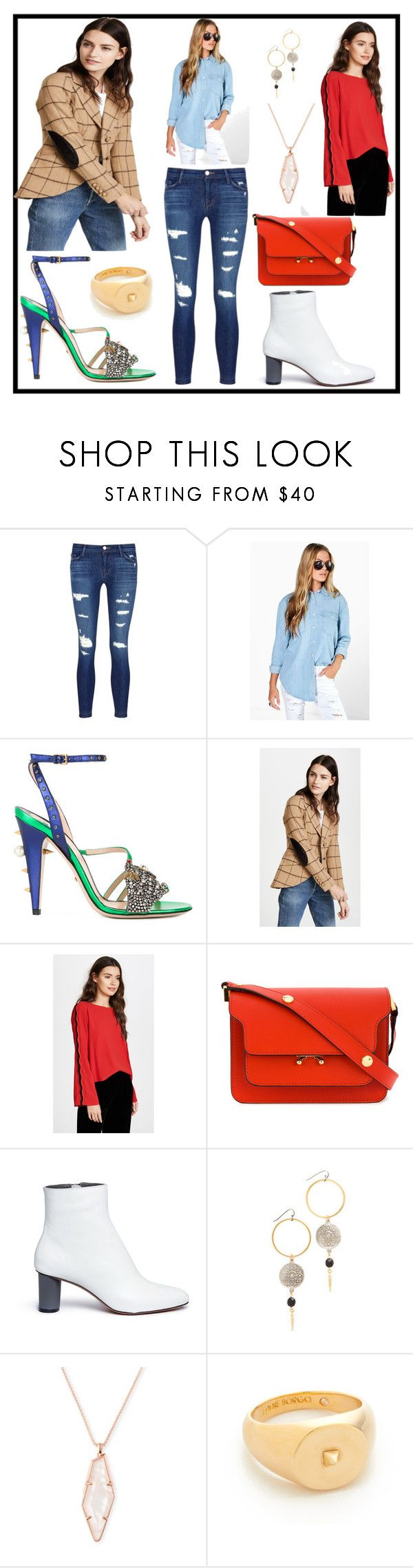 """""""Untitled #1038"""" by racheal-taylor ❤ liked on Polyvore featuring J Brand, Boohoo, Gucci, Smythe, Ramy Brook, Marni, Gray Matters, Ben-Amun, Kendra Scott and Eddie Borgo"""