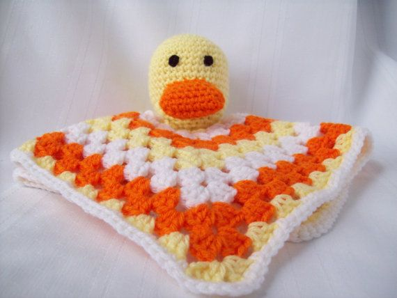 Duck Blanket Toy, Crochet Snuggle Buddy Blanket Toy, Granny Square Security Blanket, Stuffed Duck