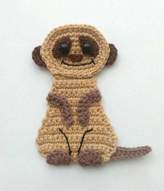 Padrão com padrão de crochê Meerkat Applique PDF Safari Safari Animal Pattern Download imediato Ornamento de motivos Cobertor de bebê Padrão de presente de bebê ENG   – Muster