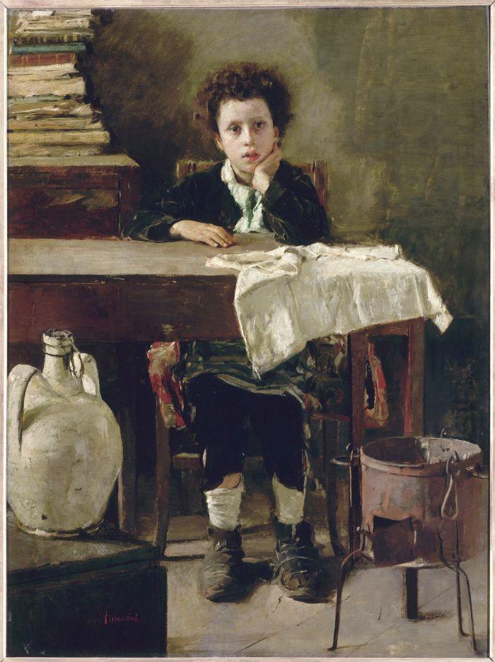 Antonio #Mancini, Il piccolo scolaro (Le petit écolier), 1876 c. – Olio su tela, Parigi, Musée d'Orsay