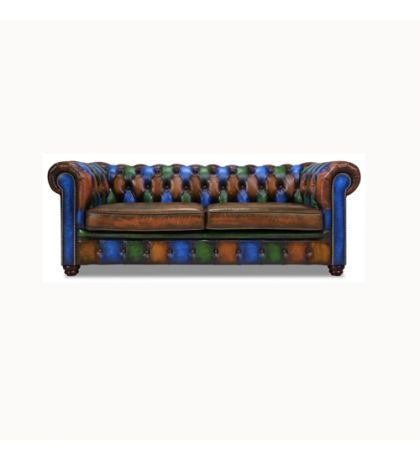 Traditional Chesterfield Pub Sofa Jesterfield in Multicoloured Leather