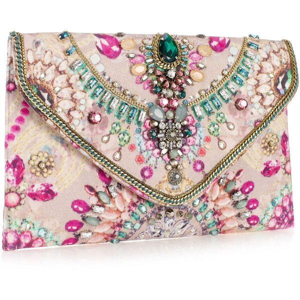 Accessorize Digi Gem Clutch (940 ARS) ❤ liked on Polyvore featuring bags, handbags, clutches, purses, bolsas, sparkly purses, sparkle handbags, chain handbags, pink purse and chain purse