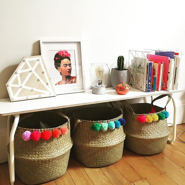 Finally completed my #kmarthack on the @kmartaus seagrass baskets using a pom pom garland I had bought but never used. Going to use them to store the girls toys #pompom #basket #kmart #kmartstyling #kmartaustralia #kmartaus #ikea #kids #kidsbedroom #bedroom #interior #diy