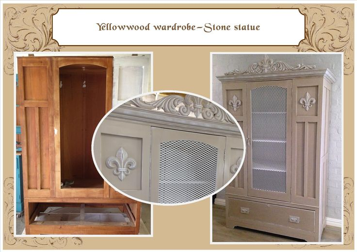 Oak wardrobe converted to utility cupboard - stone statue with white highlighs