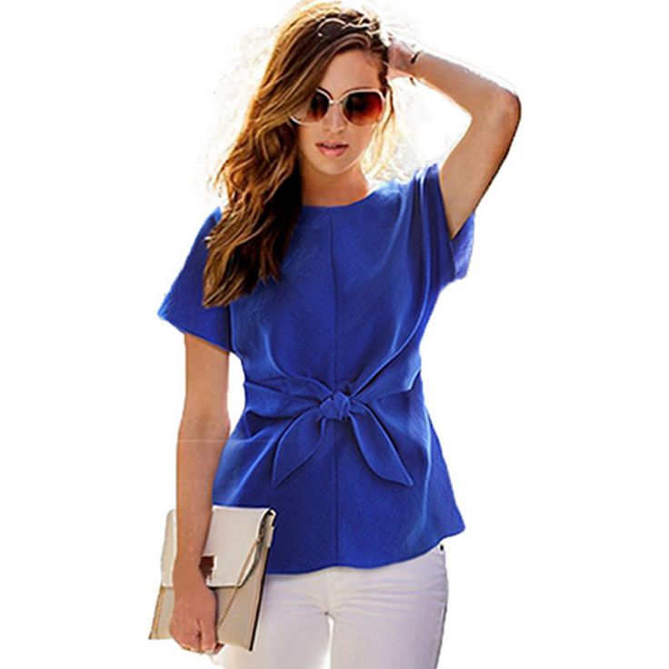 $3.99 // Fashion Women Tops Europe And The Wind Solid Short Sleeve Bow Blusas S XXL Plus Size O neck Blouse Shirt-in Blouses & Shirts from Women's Clothing & Accessories on Aliexpress.com | Alibaba Group