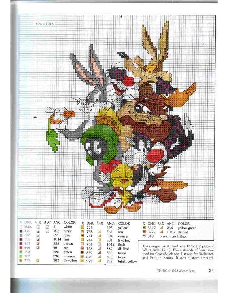 i personaggi Looney Tunes a punto croce - magiedifilo.it punto croce uncinetto schemi gratis hobby creativi