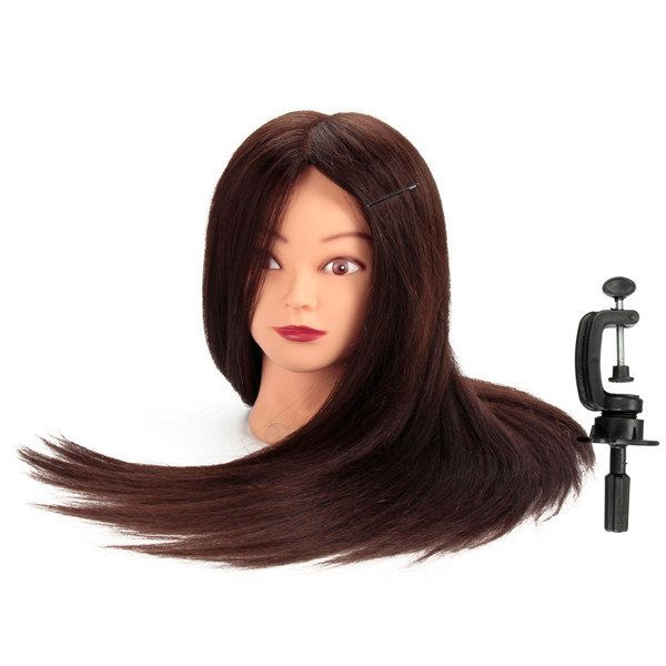 24 Inch 80% Real Human Hair Hairdressing Training Head Mannequin Model With Clamp