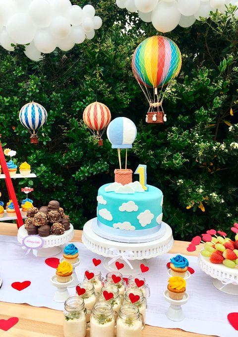 Fiesta de globo aerostaticos decoraci n fiestas globos - Decoracion primer cumpleanos ...