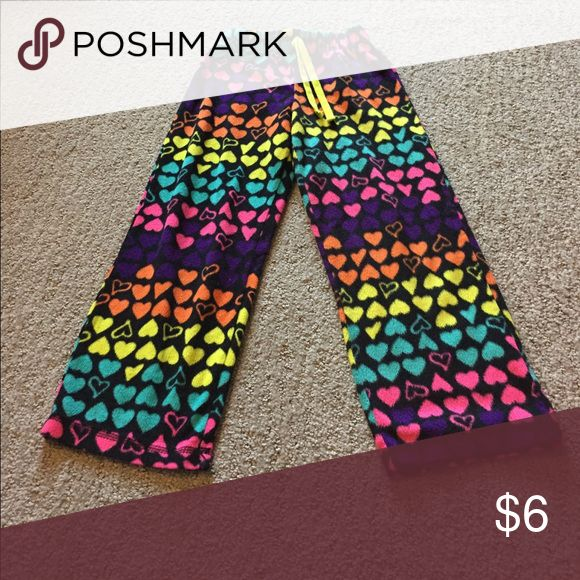 Fleece pajama pants Multicolor hearts. Super cozy! Pajamas Pajama Bottoms