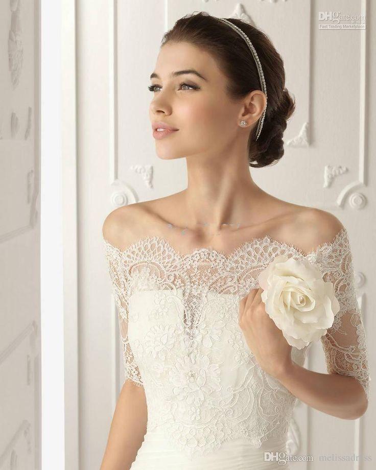 2016 New Off Shoulder Romantic Half Sleeves White Lace Bolero Wedding Jackets…