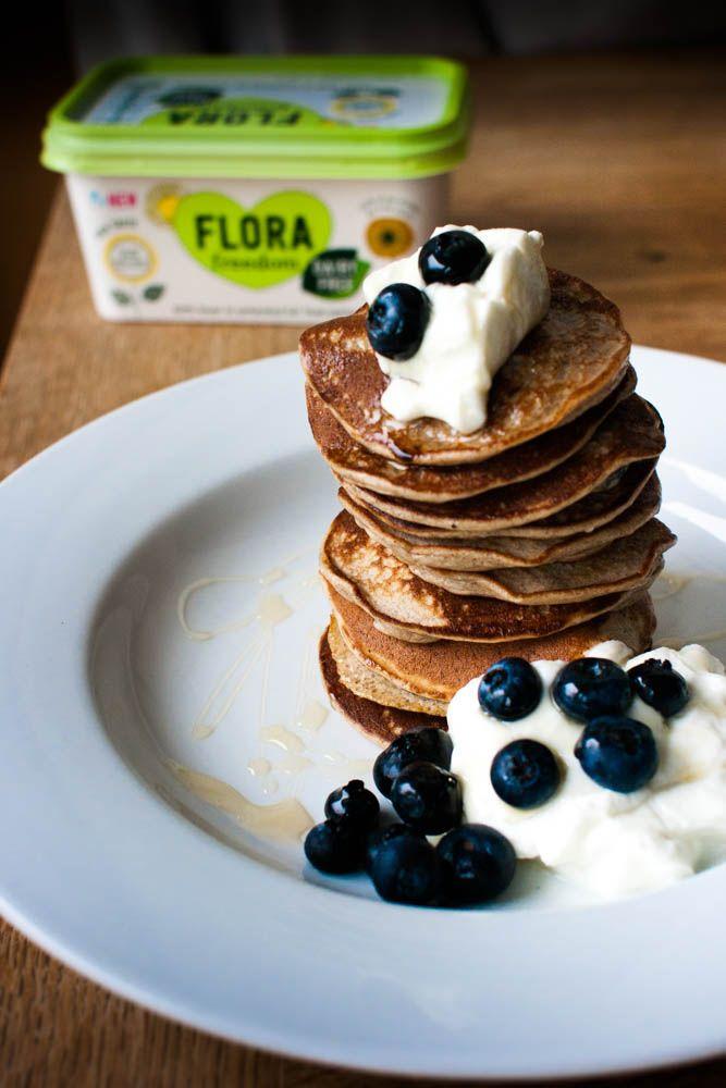 Vegan Banana & Blueberry Pancakes. Sugar free, dairy free, delicious.