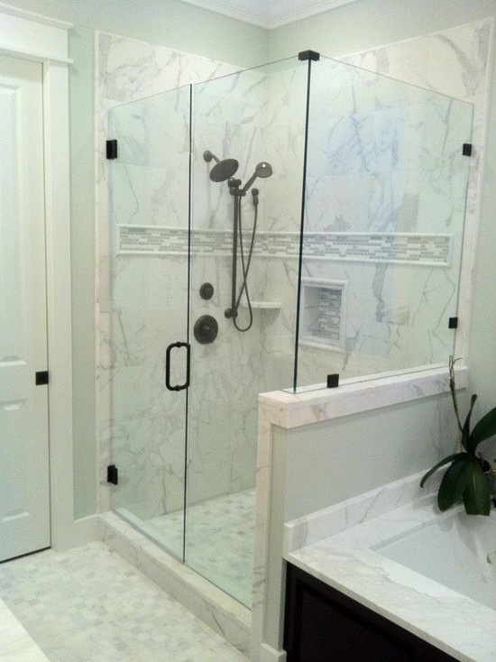 Calacutta Gold Marble Shower With 12x12 Tiles For The