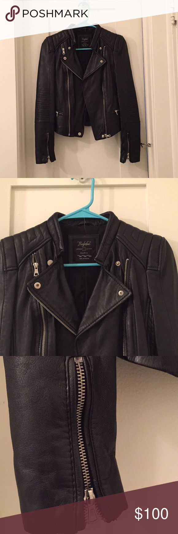 "NWOT Zara Real Leather Jacket So cool!!! Never been worn!! New without tags. No flaws! I purchased this and took the tags off but I've never even worn it!!! It's just been in my closet and now I'm downsizing so that's why I'm selling. As seen on Kendall Jenner! Awesome real leather jacket from Zara.  Such a cool style. Measurements are: From shoulder to shoulder = 14.5"" Bust= 30"" Length= 20"" Sleeve length= 23"" Price is firm Zara Jackets & Coats"