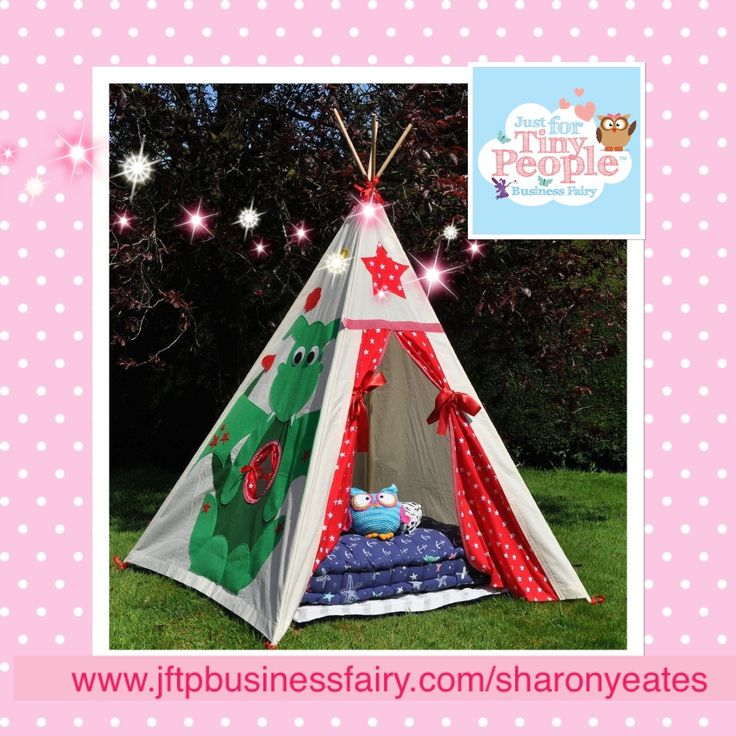 A magical teepee for super fun playtimes and adventures, this will soon become your tiny person's castle and favourite hiding place. With pretty dotty curtains and a friendly cartoon dragon on the side, this is the ultimate secret den.   Perfect for both indoor and outdoor play, the magical teepee is handmade by our sewing fairies from machine washable, super soft cotton.  EVERYTHING YOU NEED TO KNOW: - A children's magical teepee is approximately 145cm tall and 120cm square at the base