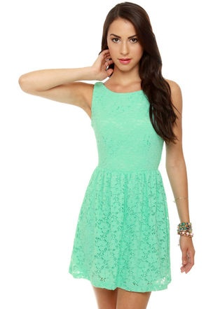 Cute Mint Green Dress - Lace Dress - Mint Dress - $41.00 - Love the color and style of this dress. It looks perfect for Spring and maybe even Summer!