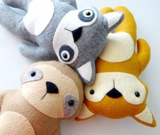 Fox, Racoon, & Sloth Felt Softies | YouCanMakeThis.com