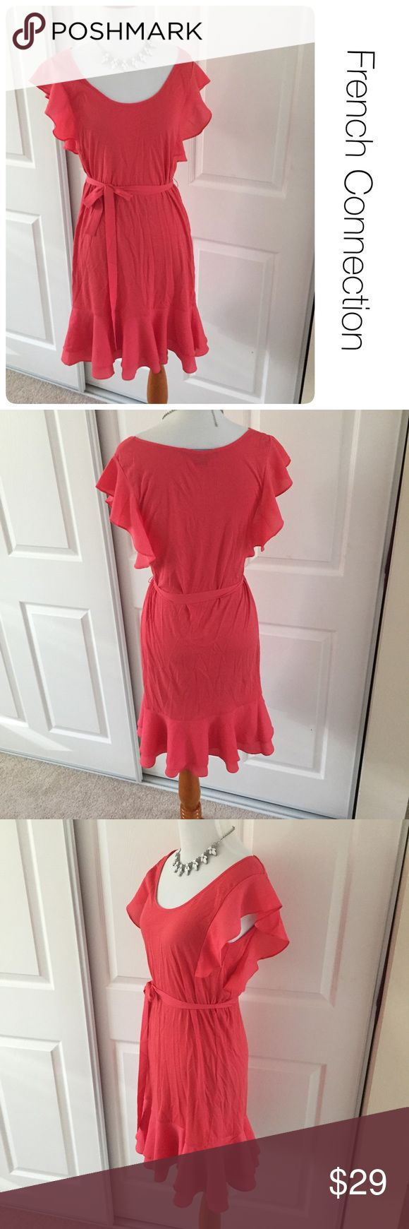 French Connection pink ruffle dress size 2 ♦️Excellent condition. No holes, stains or piling.                                                 ♦️Materials- 50 cotton/50 modal                    ♦️Measurements:                               ♦️Laying flat armpit to armpit: approximately 16 inches                       ♦️Laying flat from the back of the neck to the bottom of the front hem is approximately 33 inches French Connection Dresses Mini