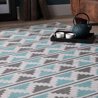 Tapis 100% coton tiss� main � chevrons turquoise et gris PACHAI 200x290 @199€