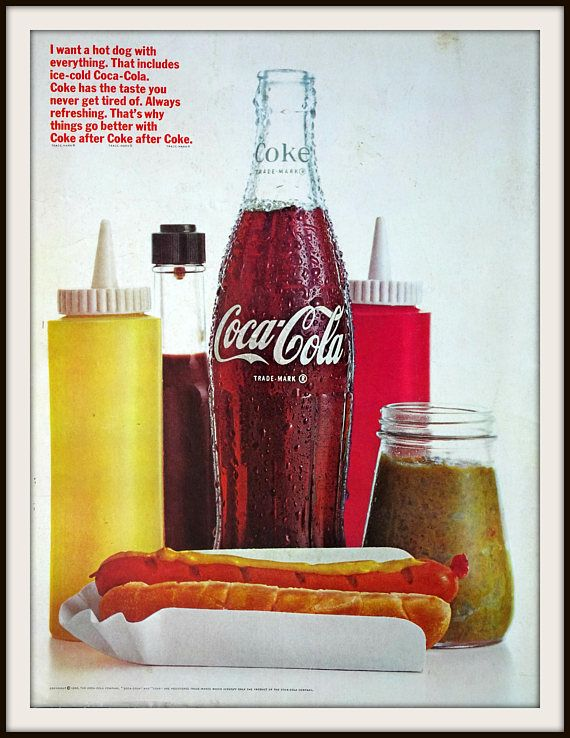 1966 Coca-Cola Advertisement. Vintage beverage ad. Vintage Coca-Cola ad. Vintage Cola ad. Vintage Coke ad.Vintage hot dog advertisement. #cocacola #coke #vintagecoke #vintagecocacola #mancave #wallart #vintagewallart