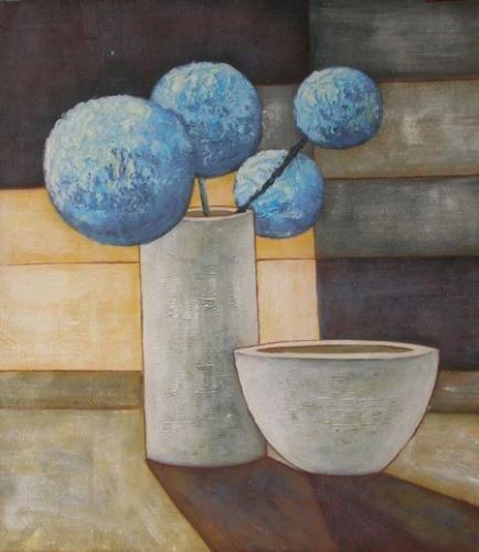 obrazy ručně malované - obraz Vázy a nádoby - Modré kulaté květy, obrazy do bytu