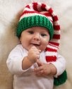 Melondipity Boy or Girl Christmas Holiday Crochet Baby Hat - Elf Knit Stocking Beanie in Red, White and Green with Pom-Pom - 0-12 Months One Size - Newborn to Infant