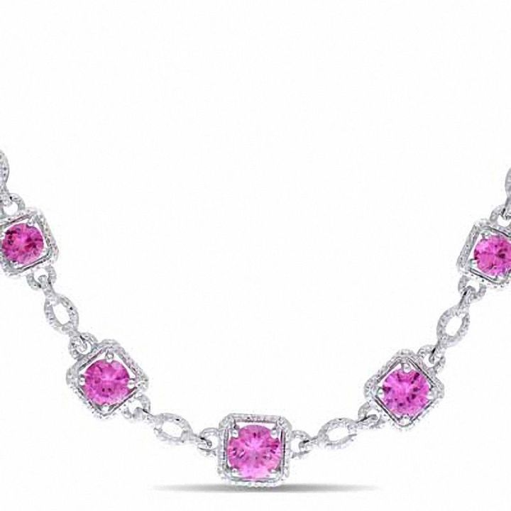 """Zales Lab-Created Pink Sapphire and Diamond Accent Necklace in Sterling Silver - 17"""""""