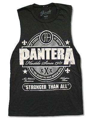 """PANTERA """"STRONGER THAN ALL"""" VINTAGE BLACK MUSCLE SHIRT NEW OFFICIAL JUNIORS"""