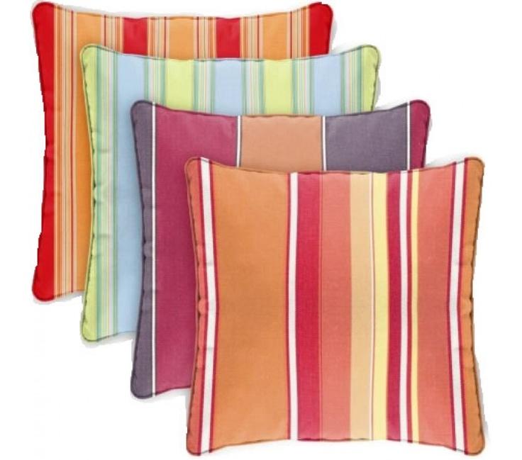 Sunbrella Fabric Outdoor Throw Pillows (Stripes)