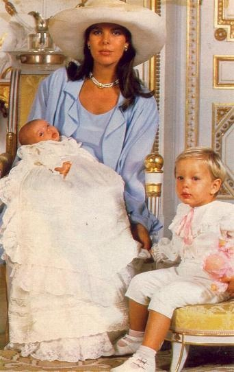 Princess Caroline with her two children, Andrea Casiraghi and Charlotte Casiraghi.