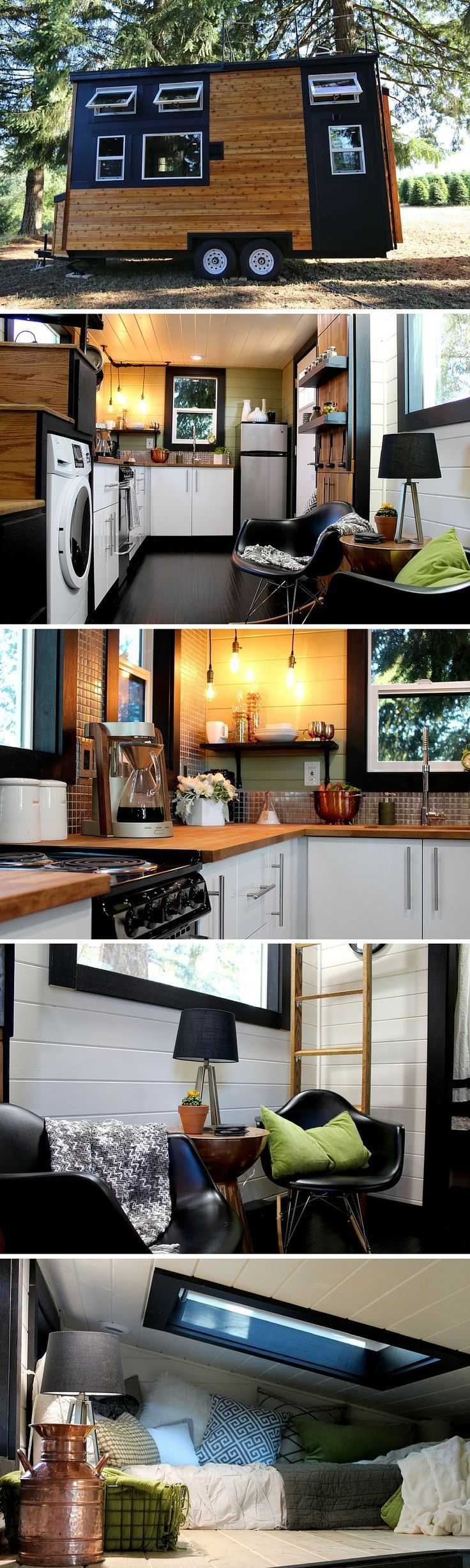 A stunning modern tiny house, built for a couple on the go. Designed and built by Tiny Heirloom of Portland, Oregon.