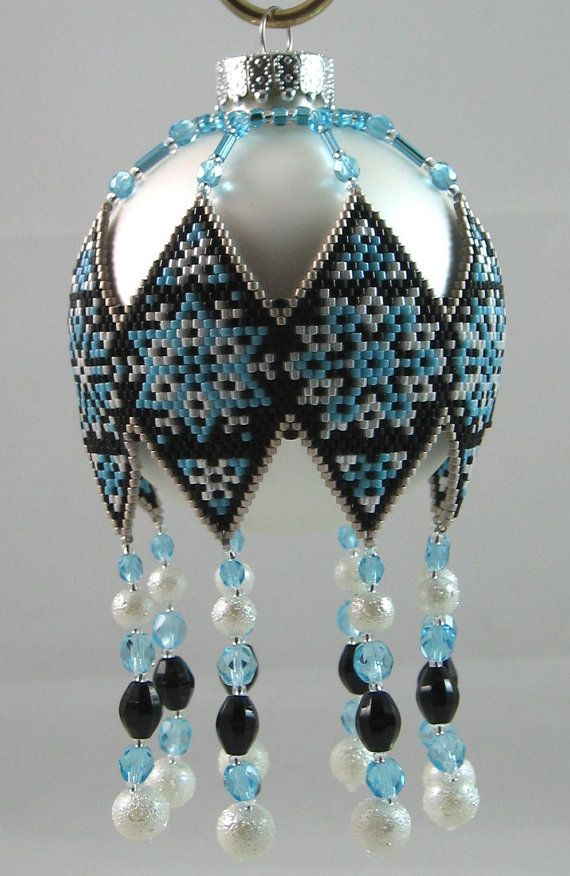 Frosty Snowflakes Beaded Ornament by LazyRose on Etsy