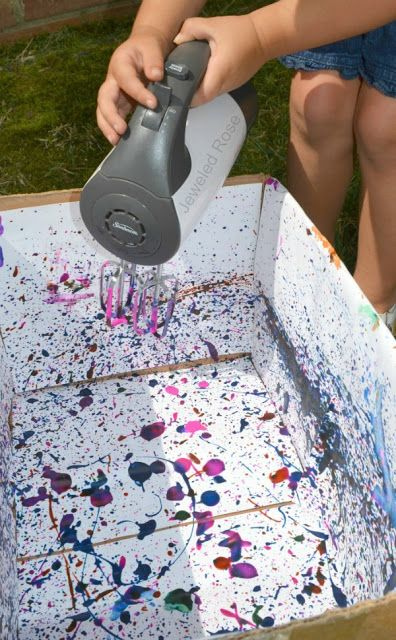 Electric Painting. Make beautiful works of art using an electric mixer and paint- such a fun way for kids to create!