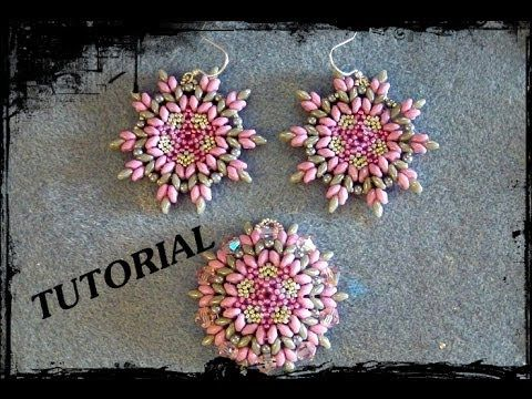 "▶ Tutorial Beads: Earrings / Pendant ""DOUBLE"", made ​​with beads seed beads, delicate and superduo - YouTube"
