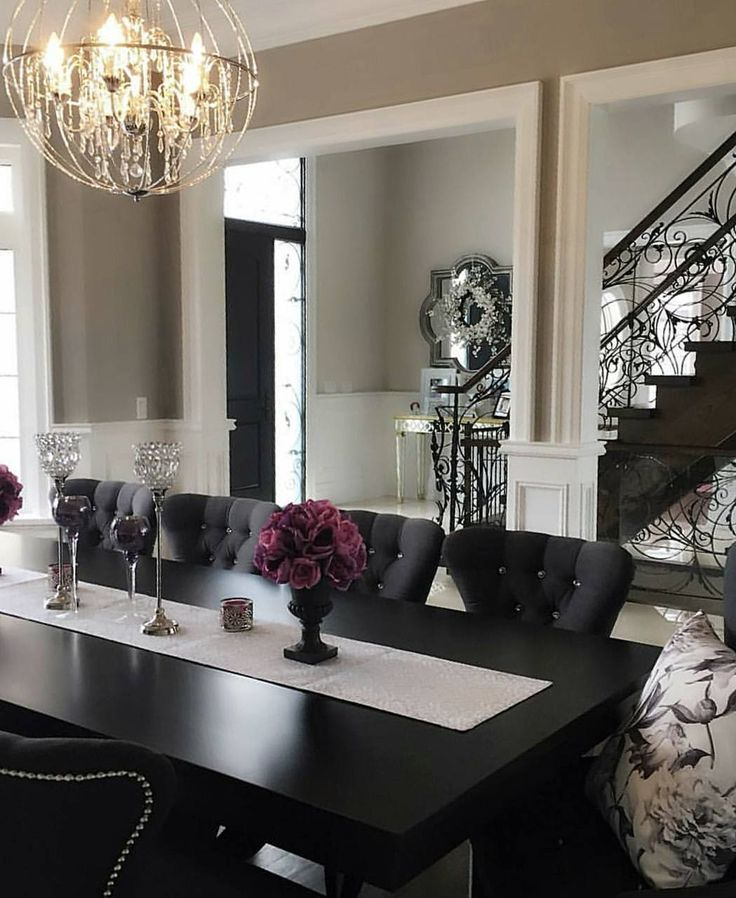 Black and white glamour dining room