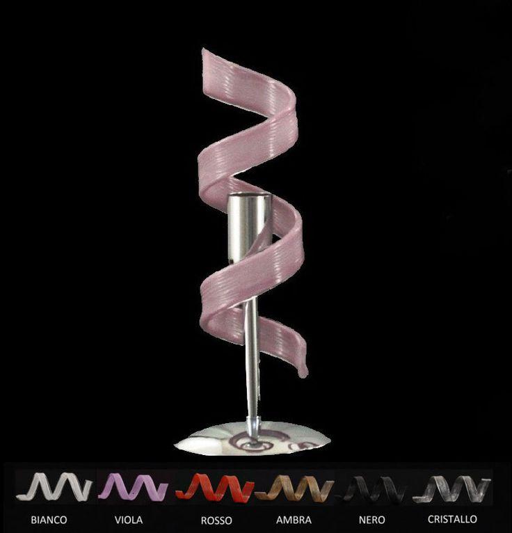 Lampada tavolo moderno acciaio cromo cristallo 6 colori comodino abat jour lume