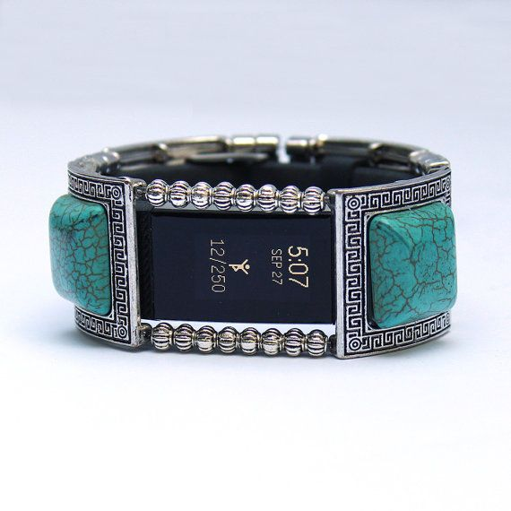 FitBit Charge 2 Band Cover Bracelet: Turquoise and by FITnessBITsy