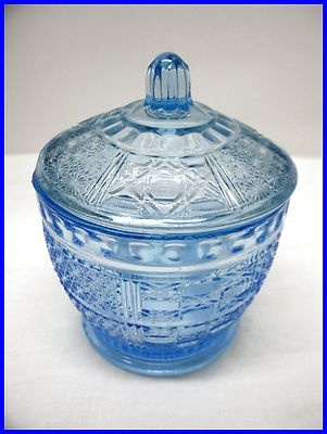 VINTAGE~BLUE~GLASS~DISH~SUGER~BOWL~LID~KIG~INDONESIA~NICE~DESIGN